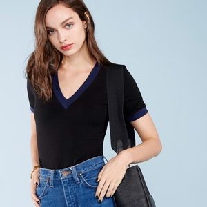 Reformation Palmer Ribbed Knit Varsity Preppy Top